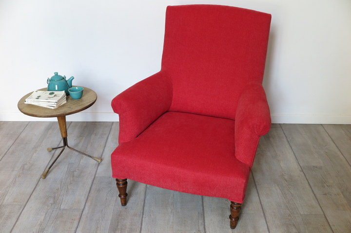 FELIZ Fauteuil anglais rouge stone washed